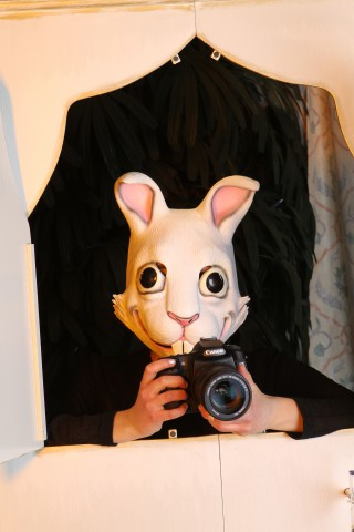 "Fotobox ""Fotografin Bibi"" beim Auslösen."